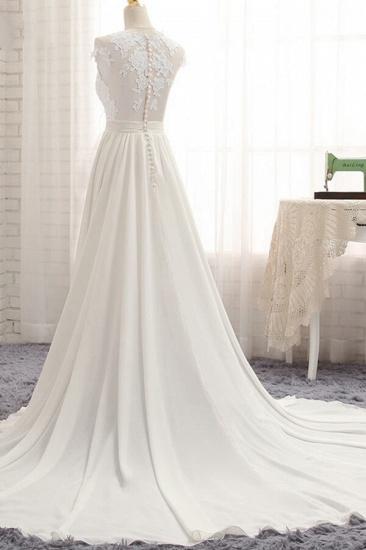 Elegant Chiffon Sleeveless Appliques Wedding Dress A-line Jewel White Bridal Gowns On Sale_5