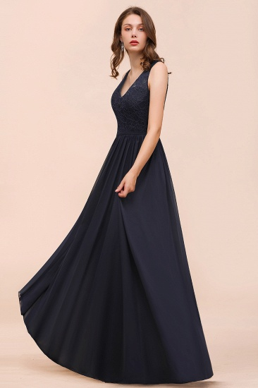 Affordable Lace V-Neck Navy Bridesmaid Dress with Open Back_6