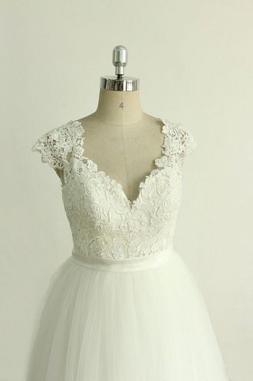 BMbridal Stylish White Tulle Lace Wedding Dress Appliques A-line Ruffles Bridal Gowns On Sale_4