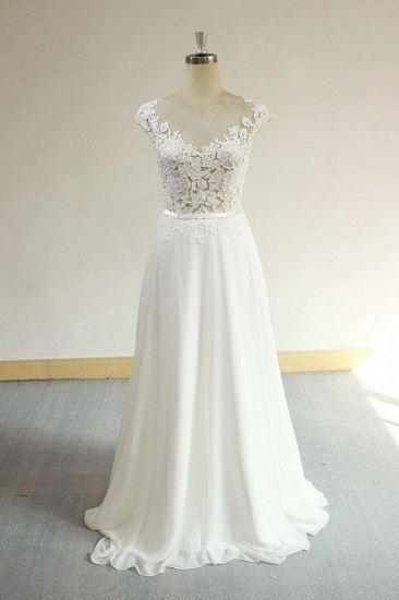 BMbridal Sexy V-neck Appliques Sleeveless Wedding Dress A-line Chiffon White Bridal Gown On Sale_1