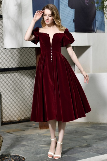 Vintage Bugrundy Short Sleeve Prom Dress Tea-Length Party Gowns With Lace-up_5