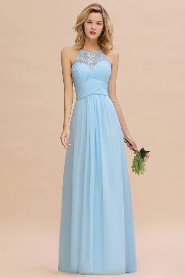 Elegant Jewel Ruffle Affordable Chiffon Bridesmaid Dress with Appliques
