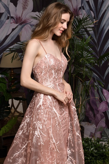 Pink Spaghetti-Straps Appliques Prom Dress Long Evening Gowns Overskirt_7