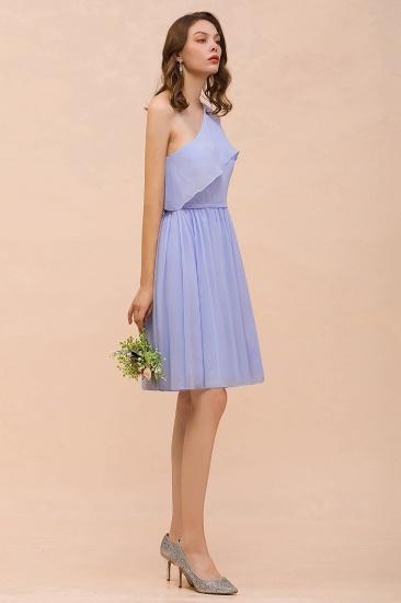 Affordable One Shoulder Ruffle Lavender Chiffon Short Bridesmaid Dress_8