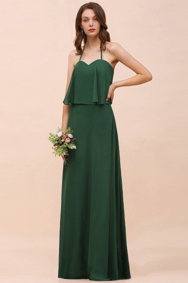Chic Halter Sweetheart Dark Green Chiffon Bridesmaid Dress