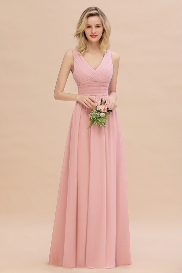 Elegant V-Neck Dusty Rose Chiffon Bridesmaid Dress with Ruffle_4