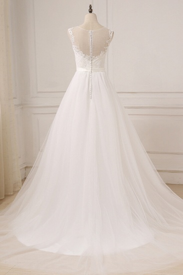 BMbridal Glamorous Tulle Sleeveless Jewel Wedding Dress White A-line Appliques Bridal Gowns On Sale_3
