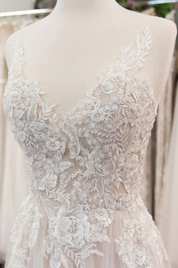 Elegant Appliques A-line V-neck Wedding Dress Straps Sleeveless Tulle Bridal Gowns On Sale_4