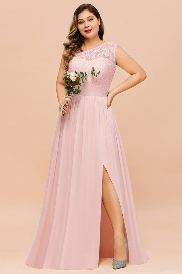 Chic One-Shoulder Pink Lace Bridesmaid Dresses with Slit_7