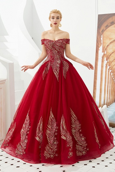 Off-the-Shoulder Tulle Ball Gown Prom Dress With Appliques Beadings