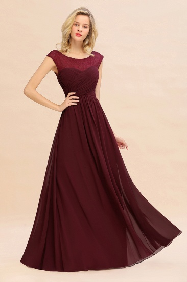 BMbridal Modest Burgundy Chiffon Sleeveless Ruffle Bridesmaid Dress Affordable_6