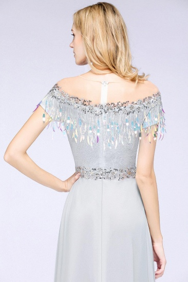 BMbridal A-line Jewel Short Sleeves Sequins Evening Dress with Tassels_6