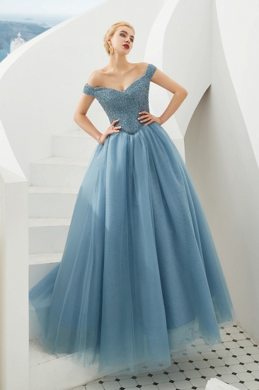 BMbridal Princess Off-the-Shoulder Prom Dress Beadings Sweetheart Ball Gown Evening Gowns_15
