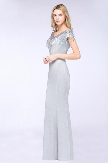 BMbridal Elegant Jewel Short Sleeves Sequins Evening Dress with Tassels_4