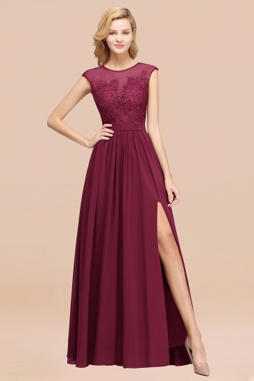 Cheap Scoop Lace Appliques Yellow Bridesmaid Dresses with Slit_44