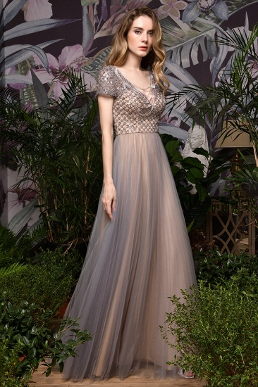 Glamorous Short Sleeve Tulle Prom Dress Long Evening Party Gowns Online