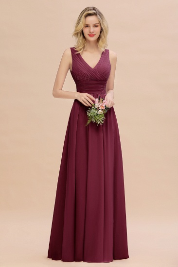 Elegant V-Neck Dusty Rose Chiffon Bridesmaid Dress with Ruffle_44
