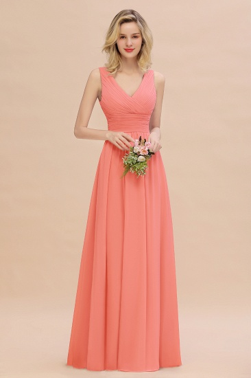 Elegant V-Neck Dusty Rose Chiffon Bridesmaid Dress with Ruffle_45