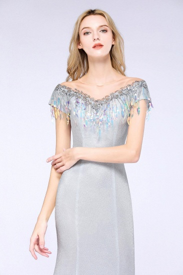 BMbridal Elegant Jewel Short Sleeves Sequins Evening Dress with Tassels_6