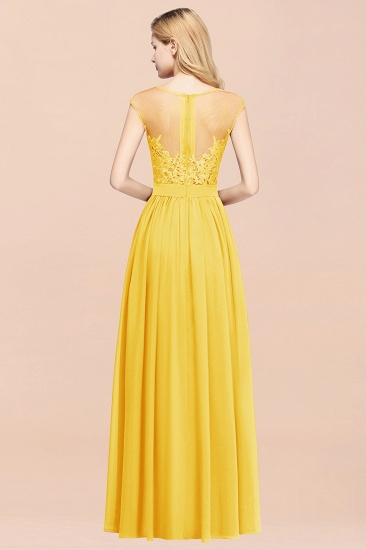 Cheap Scoop Lace Appliques Yellow Bridesmaid Dresses with Slit_52