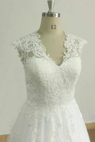 Glamorous Sleeveless Appliques Tulle Wedding Dresses A-line Lace Straps Bridal Gowns On Sale_4