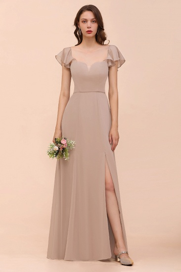 Chic Chiffon Short Sleeves Slit Affordable Bridesmaid Dress
