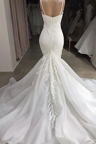 BMbridal Sexy Mermaid Spaghetti Straps Ivory Wedding Dresses With Appliques Tulle Lace Bridal Gowns On Sale_3