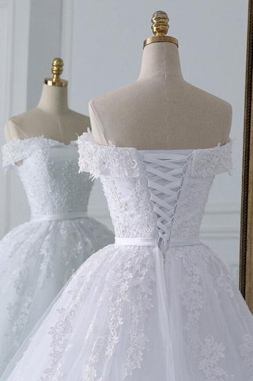 Unique Off the Shoulder Appliques Lace Wedding Dress Ball Gown White A-line Bridal Gowns On Sale_6