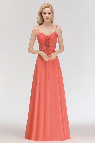 BMbridal Modest Spaghetti-Straps Ruffle Affordable Bridesmaid Dress with Appliques_1