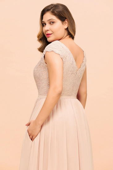 Elegant Jewel Chiffon Lace Affordable Bridesmaid Dresses with Slit_9