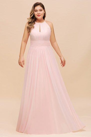 BMbridal Affordable Plus Size Chiffon Round Neck Pink Bridesmaid Dress_4