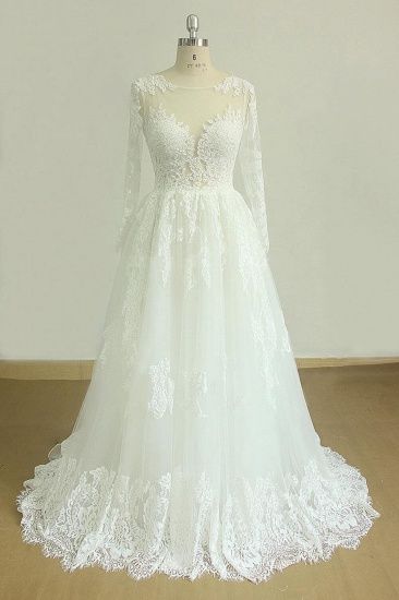 Gorgeous Longsleeves White Appliques Wedding Dress Tulle Lace Jewel Bridal Gown On Sale_1