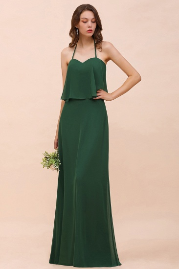 Chic Halter Sweetheart Dark Green Chiffon Bridesmaid Dress_1