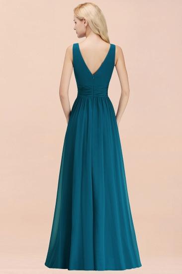 Modest Sleeveless V-Neck Long Chiffon Bridesmaid Dress Online with Ruffle_52