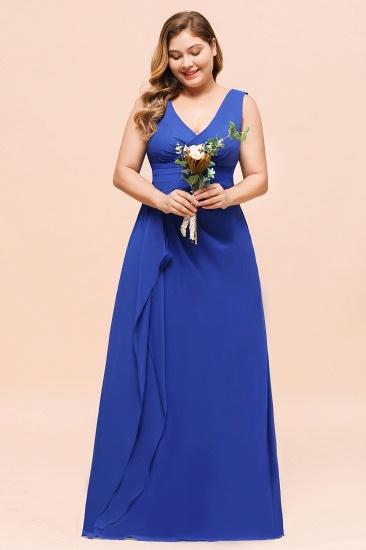 Elegant V-Neck Sleeveless Chiffon Plus Size Bridesmaid Dress_7