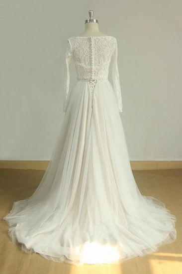 BMbridal Chic Sweetheart Lace Wedding Dress White Tulle Ruffles Bridal Gowns On Sale_5