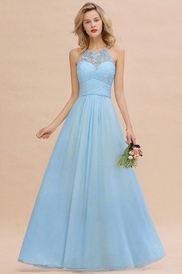 Elegant Jewel Ruffle Affordable Chiffon Bridesmaid Dress with Appliques_7