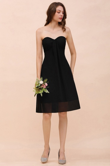 Lovely Strapless Sweetheart Ruffle Short Black Bridesmaid Dress Affordable_4