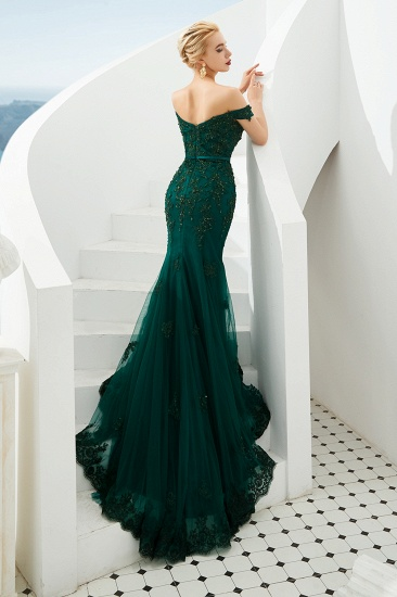 BMbridal Off-the-Shoulder Green Prom Dress Long Mermaid Evening Gowns With Lace Appliques_5