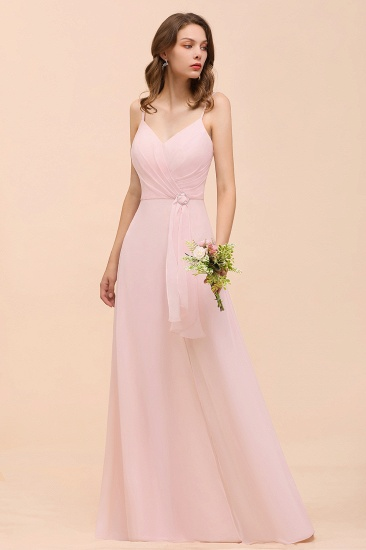 BMbridal Affordable Blushing Pink Spaghetti Straps Ruffle Bridesmaid Dress_5