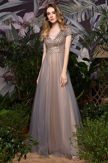 Glamorous Short Sleeve Tulle Prom Dress Long Evening Party Gowns Online_4