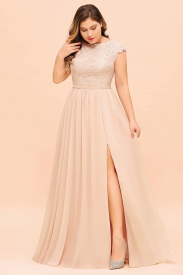 Elegant Jewel Chiffon Lace Affordable Bridesmaid Dresses with Slit_5