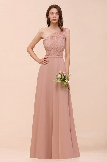BMbridal New Arrival Dusty Rose One Shoulder Lace Long Bridesmaid Dress_6