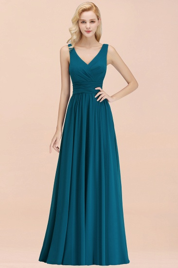 Modest Sleeveless V-Neck Long Chiffon Bridesmaid Dress Online with Ruffle_54