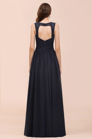 Affordable Lace V-Neck Navy Bridesmaid Dress with Open Back_3