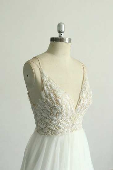 BMbridal Gorgeous A-line White Lace Tulle Wedding Dress Sleeveless Appliques Bridal Gowns On Sale_5