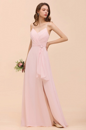 BMbridal Affordable Blushing Pink Spaghetti Straps Ruffle Bridesmaid Dress_4