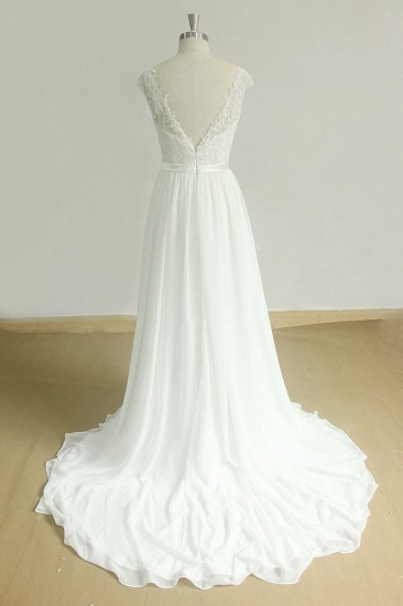BMbridal Stylish White Chiffon Lace Wedding Dresses Jewel Sleeveless Bridal Gowns On Sale_3