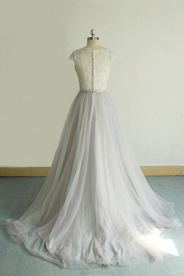 BMbridal Unique V-neck Appliques Tulle Wedding Dress Ruffles Shortsleeves A-line Bridal Gowns On Sale_3