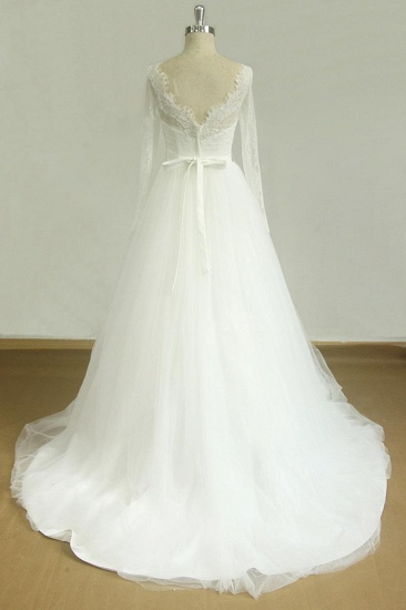 Affordable A-line White Lace Tulle Wedding Dress Longsleeves V-neck Bridal Gowns On Sale_3